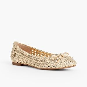 TALBOTS Woven Gold Leather Flats